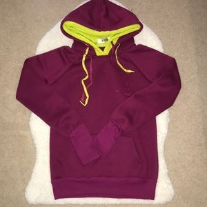Burgundy Double Hooded Sweater with Thumb Holes
